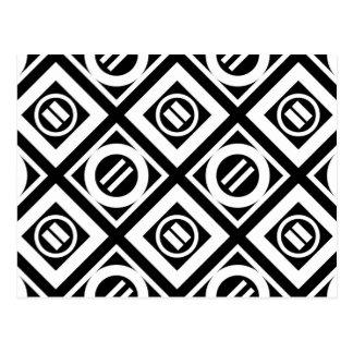 Carte Postale Motif géométrique de signe d'égalité blanc sur le