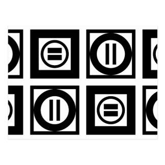 Carte Postale Motif géométrique noir et blanc de signe d'égalité