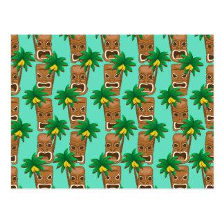 Carte Postale Motif hawaïen de répétition de Tiki