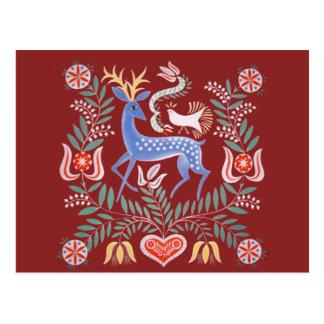 Carte Postale Motif hongrois vintage de cerfs communs