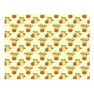Carte Postale Motif mignon de girafe. Animaux de bande dessinée