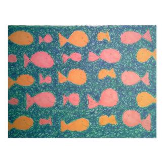 Carte Postale Motif peint par poissons tropicaux