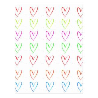 Carte Postale Motif pour aquarelle de coeur d'arc-en-ciel