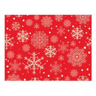 Carte Postale Motif rouge drôle de flocons de neige