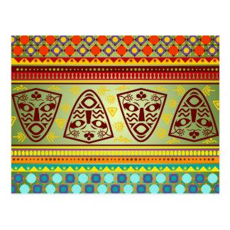 Carte Postale Motif tribal de masque africain lumineux