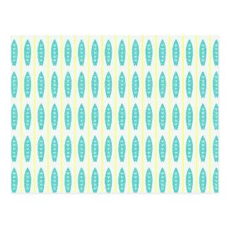 Carte Postale Motif turquoise de planches de surf