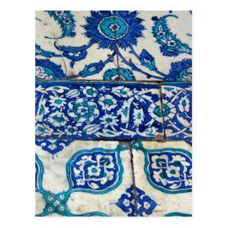 Carte Postale Motifs bleus et blancs d'iznik vintage classique