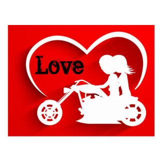 Carte Postale Moto, coeur et amour d'équitation de couples