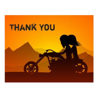 Carte Postale Moto d'équitation de couples avec le Merci de