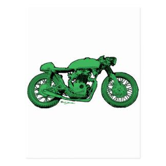 Carte Postale Moto verte de cru de coureur de café