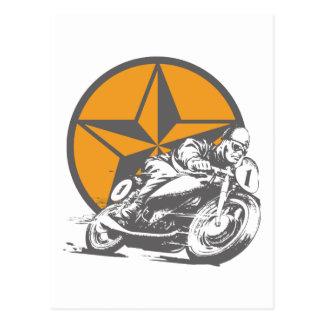 Carte Postale Moto vintage emballant l'étoile de cercle