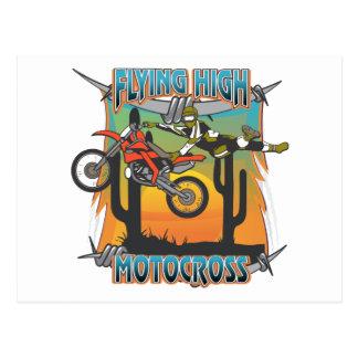 Carte Postale Motocross élevé volant