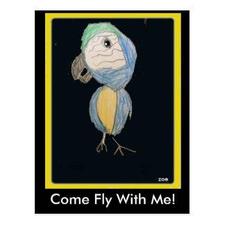Carte Postale Mouche veneze avec moi ! Oiseau