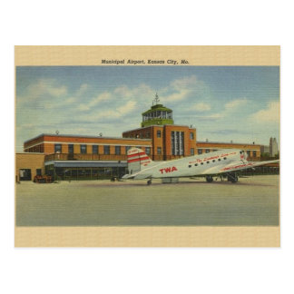 Carte postale municipale vintage d'aéroport de