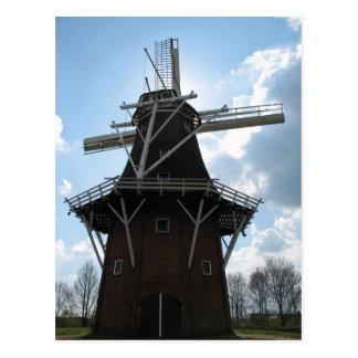 Carte postale néerlandaise de silhouette de moulin