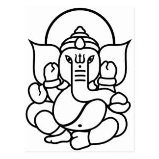Carte Postale No. 3 (blanc noir) d'éléphant de Ganesha