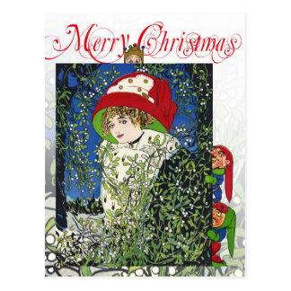 Carte Postale Noël avec le gui et les elfes