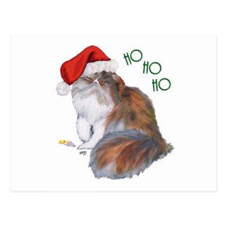 Carte Postale Noël de chat persan de calicot