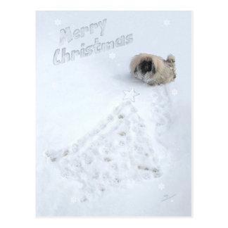 Carte Postale Noël de chiot de Pekingese premier