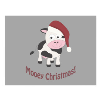 Carte Postale Noël de Mooey ! Vache à Père Noël