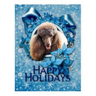 Carte Postale Noël - flocon de neige bleu - caniche - chocolat