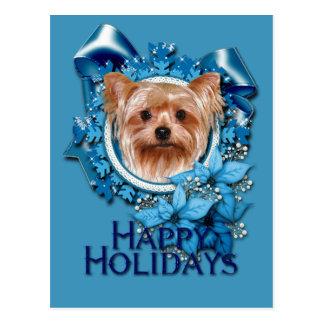 Carte Postale Noël - flocons de neige bleus - Yorkshire Terrier