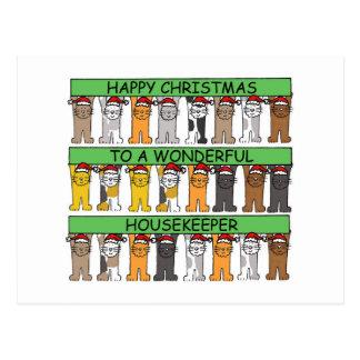 Carte Postale Noël heureux de femme de charge