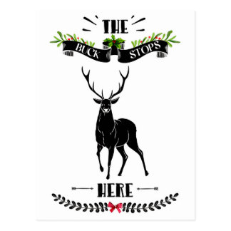 Carte Postale Noël le mâle arrête ici des cerfs communs