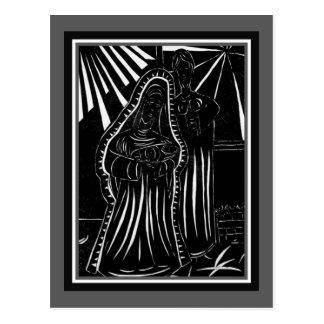 Carte Postale Noël religieux blanc de nativité noire d'abrégé