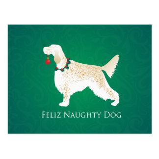 Carte Postale Noël vilain de chien de Feliz de poseur anglais