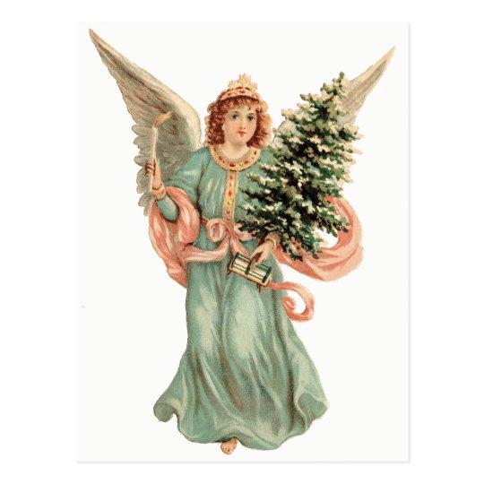 Carte Postale Noël vintage, ange victorien avec l'arbre