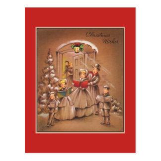Carte Postale Noël vintage Corolers Tan et rouge
