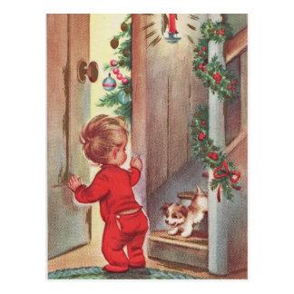 Carte Postale Noël vintage d'enfant et de chiot orienté