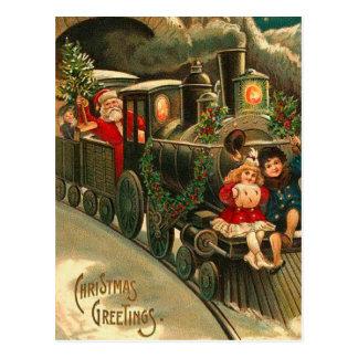 Carte Postale Noël vintage Père Noël sur le train