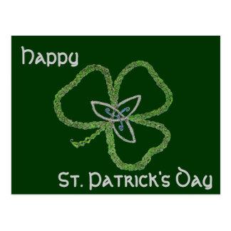 Carte Postale Noeud celtique irlandais de shamrock