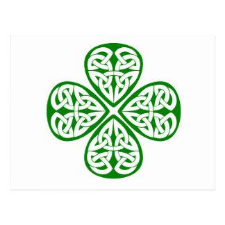 Carte Postale noeud vert de celtic de shamrock