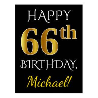 Carte Postale Noir, anniversaire d'or de Faux soixante-sixième +