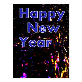 Carte postale noire et bleue de bonne année de
