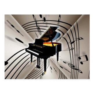 Carte Postale Notes et personnel de piano
