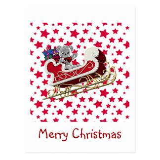 Carte Postale Nounours de Sleigh de Noël