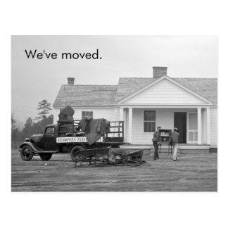 """Carte Postale """"Nous avons déplacé"""" le changement vintage"""