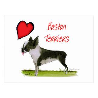 Carte Postale nous terriers de Boston de luv des fernandes