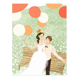 Carte Postale Nouveaux mariés sur une branche de jardin