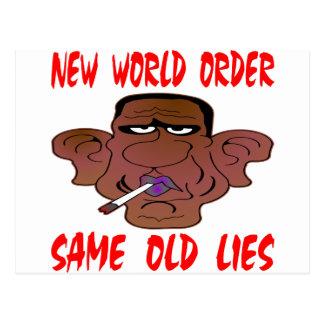 Carte Postale Nouvel ordre mondial de Barack Obama les mêmes
