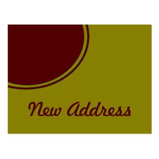 Carte Postale Nouvelle adresse de cercle rouge jaune