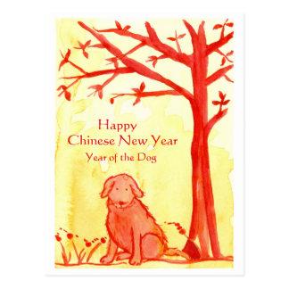 Carte Postale Nouvelle année chinoise de l'aquarelle de rouge de