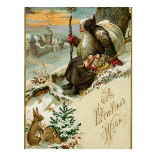 Carte Postale Nouvelles années vintages de Père Noël