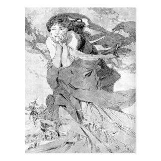 Carte Postale Novem par Alphonse Mucha