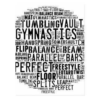 Carte Postale Nuage de mot de gymnastique dégringolant