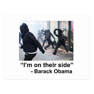Carte Postale Obama soutient violent occupent des émeutiers